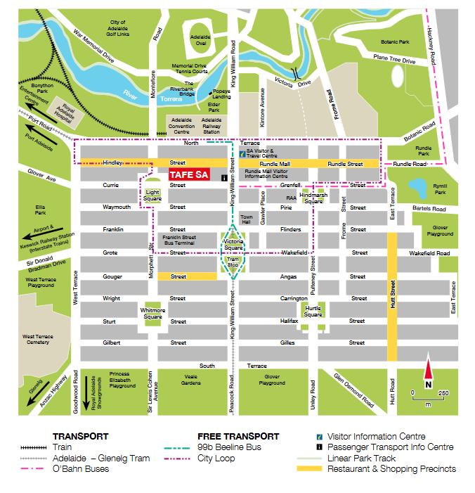 アデレード市内の地図
