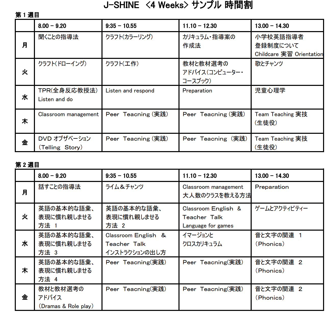IH J-SHINEコースのサンプルタイムテーブル